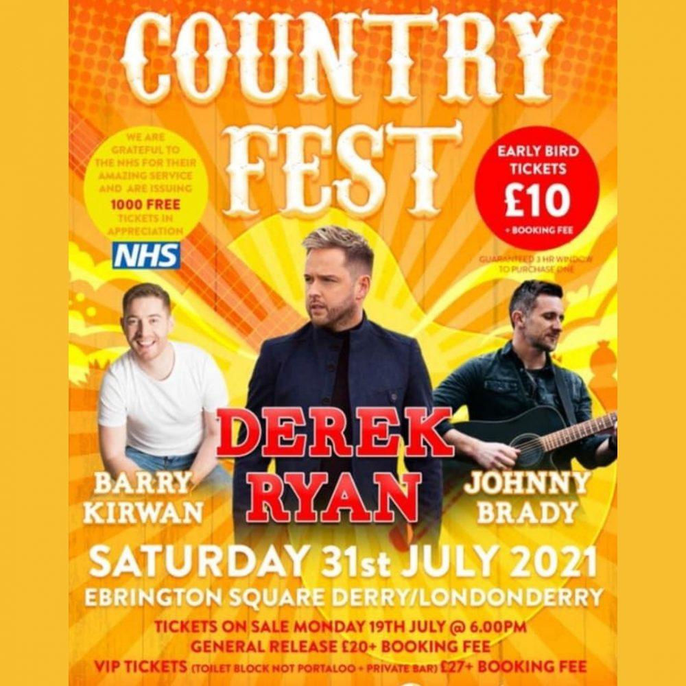 Derek headlines this year's Countryfest Derry 2021